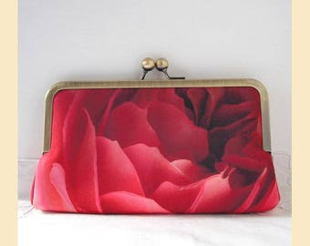 Clutch bag, handmade with red rose print and red interior, evening bag with antique brass or silver frame, optional personalisation