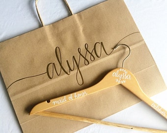 Personalized Gift Bag | Hanger Gift Bag | Bridesmaid Gift Bag | Large Gift Bag | Bridesmaid Gift | Wedding Gift | Kraft Bag
