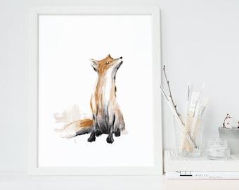 Fox Printable, Instant Download, Original Fox Illustration, Woodland Nursery Decor, Animal Print, Fox Print, Digital Art, Fox Art