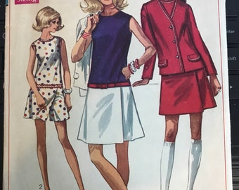 Vintage 60s Simplicity 8098 Culottes and Jacket Pattern-Size 14 (36-27-38)