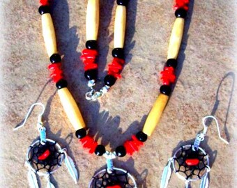 DREAMCATCHER necklace, earring set, Native made dream catcher jewelry, Native Americn, tribal, Boho, red coral, Elk bone, black and red