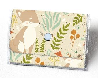 Handmade Vinyl Accordion Wallet - Forest Friends / fox, woodland, cute, small wallet, snap, cute, card case, vinyl wallet, women's wallet,
