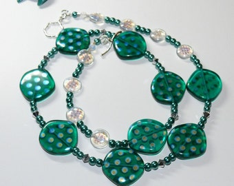 Crystal Ocean Czech Lentil Glass with Spotted Luster Beaded Handmade Necklace with Sterling Silver Flower Toggle