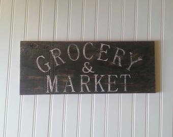 Rustic grocery & market sign/white black/kitchen/market