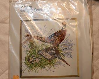 "1977 Columbia-Minerva Crewel Kit - ""Pheasant Family"" - Kit No. 7923 - Complete - 16x16 - Unopened - Hallmark Design Collection"