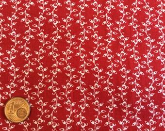 High quality homespun cotton poplin, red/white no18