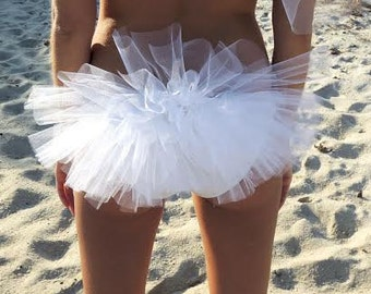 Bachelorette Bikini Veil or Booty Veil with Flower Diamond Accents, Hen Party
