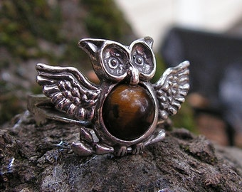 Sterling Silver Owl Ring With Tiger Eye