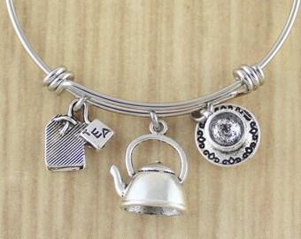 Tea Bangle Bracelet   Ultimate Tea Lovers Gift    Tea Gifts   Gifts For Tea Lovers   Tea Drinker Gifts   Tea Cup Bangle   Tea Bag Bangle