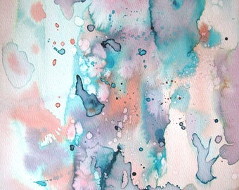 Watercolor Abstract Painting, Small Abstract, Original Abstract, Original Painting, Wall Art, Blue Painting, Pink Painting, Abstract Art