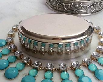 Vintage Silver Jewelry Box, Lid, Silver