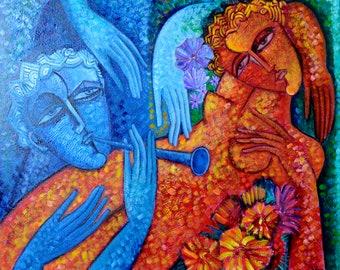 "FAMILY ART textured cubist  art  free Shipping  Original large artwork.""Lovers"". Large  Size 2 x 2.4 x 0.19  feet  (61 x 73 x 6 cm)"