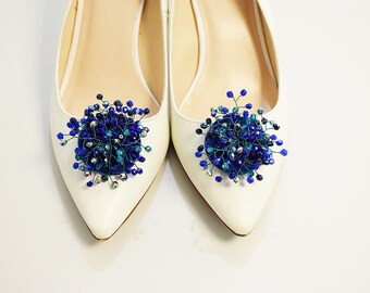 Wedding shoe clips, beaded shoe clips, blue shoe clips, metallic blue/gold checz beads flower shoe clips, wedding shoes, personalized shoes