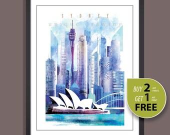 Sydney, Sydney city icons, Sydney landmarks, Sydney skyline. Sydney painting, Sydney poster, Sydney art, Syney cityscape, wall deco art,4110