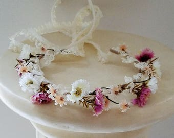 Baby flower crown dark Pink mauve little Girl Halo photo prop Lace toddler hair wreath dusty rose headband Wedding accessories bridal