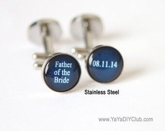 Father of the bride cufflink, Navy Blue Wedding Gift for Father of bride cufflinks, Wedding gift for father of the bride - Custom Color