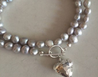 Grey Freshwater Pearl necklace with Sterling Silver hammered heart and toggle