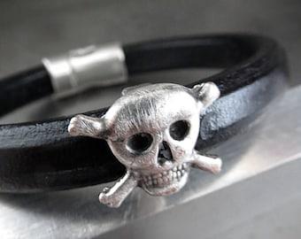 Mens Black Leather Bracelet with Distressed Silver Skull and Cross Bones - Unisex Badass Skull Leather Bracelet, Gift for Him Man Boyfriend