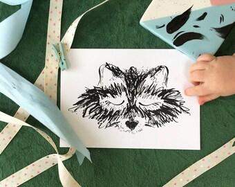 Fox Illustration, Nursery Print, Nursery Art, Fox