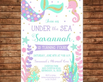 Girl Mermaid Under the Sea Gold Glitter Purple Teal Pink Birthday Party - Can personalize colors /wording - Printable File or Printed Cards