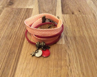 Bracelet 2 laps graphic and Red charm
