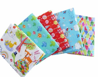 Whimsical Animals Fabric Bundle, Quilters Palette, Color Me Fun , Fat Quarter Bundle, 1/2 Yard or 1 Yard Bundle of 5, Colorful Cotton