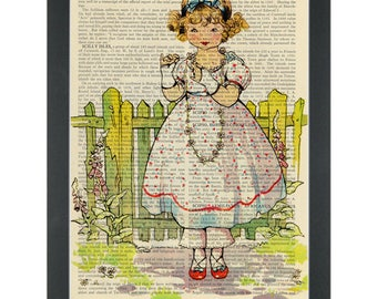 Vintage story book little daisy girl nursery Dictionary Art Print