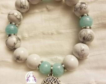 Rayne and Skye bracelet,  howlite, aqua healing bracelet