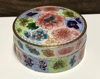 Vintage Floral Enamel Trinket Box, Floral Enamel Trinket Box, Jewel Box, Keepsake Box, Ring Box, Vanity Box, Dresser Box
