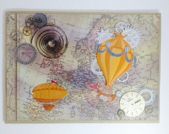 Steampunk Air Travel Greeting Card Ink-Rubbed