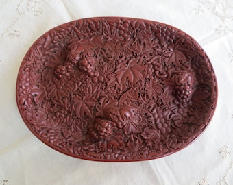 Vintage Chinese Tray Red Grapes Vines - Museum Reproduction Dish Plate - Cinnabar Lacquer Resin