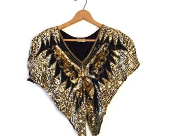 Vintage sequined butterly top/70s sparkly beaded blouse