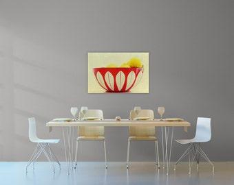 cathrineholm art print// mid century modern kitchen // kitchen canvas art - bowl of lemons, ready-to-hang kitchen art canvas