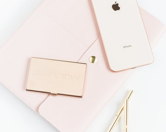 Rose Gold Business Card Holder Gift for Mom Card Holder Credit Card Holder Gift ID Holder Rose Gold Accessories Metal Card Holder Travel