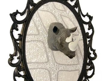 Miniature Rhino Head Mount in Victorian Frame - Faux Taxidermy - Wall Art Decor 7x10in