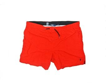 Ralph Lauren Bathing Suit Shorts / Red Polo Sport Swim Trunks - Retro 1990s Hip Hop Throwback Streetwear - FREE SHIPPING
