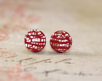 Red and gold stud earrings