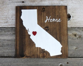 """All States Available, Rustic Hand Painted """"Home State"""" Wood Sign, California State Home, Home State Pride - 9.25""""x9.25"""""""