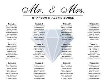 Modern Diamond Wedding Seating Chart