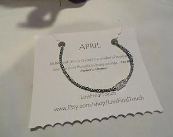 Birthstone Bracelet - April - Diamond - Crystal - Any Size, Bracelet, Birthstone, April, Crystal