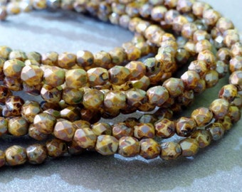 4mm Beige Picasso Fire Polished Beads - Czech Glass Beads - 4mm Picasso Faceted Rounds