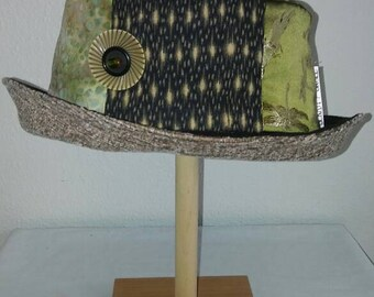 Handmade, Vintage Inspired, Elegant Green Silk Dragonfly Women's, Travel Friendly Hat