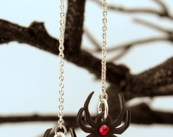 Spider earrings - Halloween earrings - Halloween costume - Black widow jewelry - Black widow - Spider - Earrings - Black - Red - Plastic