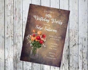 Rustic Birthday Invitation with Flowers