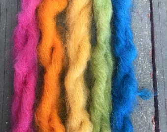 Mini Skeins  brushed mohair hand dyed knitting crochet supplies wool yarn  Waldorf Doll hair merino baby photo pro