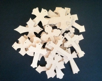 """25 2 1/2"""" x 4"""" 1/4"""" Thick Unfinished Wooden Crosses, We pick the style and you save! Ready to Paint, 020425-25"""
