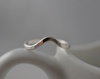 Sterling Silver  Hammered Chevron Ring - Midi or Regular Chevron Ring