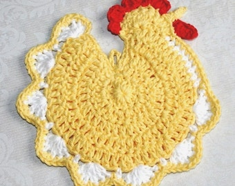 Chicken chic Crochet Pot holder Potholder Hot Pad Red Blue Yellow White