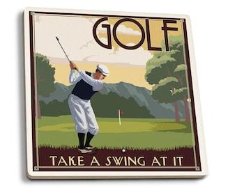 Golf - Take a Swing at It - LP Artwork (Set of 4 Ceramic Coasters)