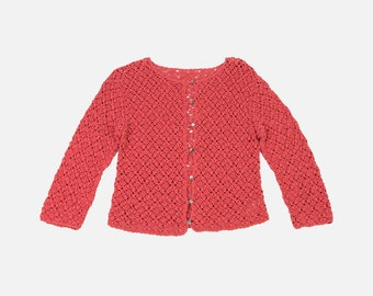 CLEARANCE Vintage Coral Crocheted Cardigan